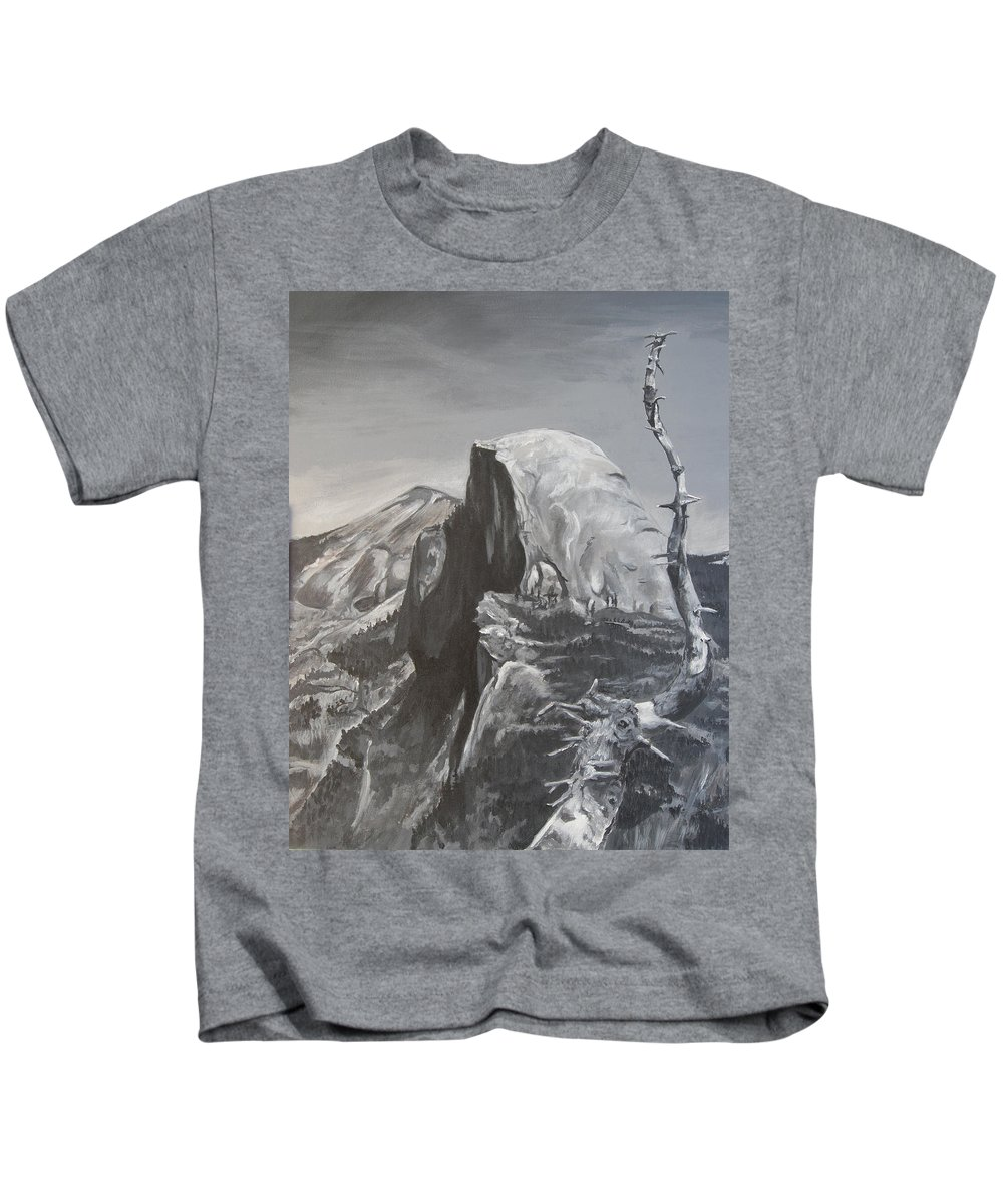 Black And White Painting Kids T-Shirt featuring the painting Half Dome Tree by Travis Day