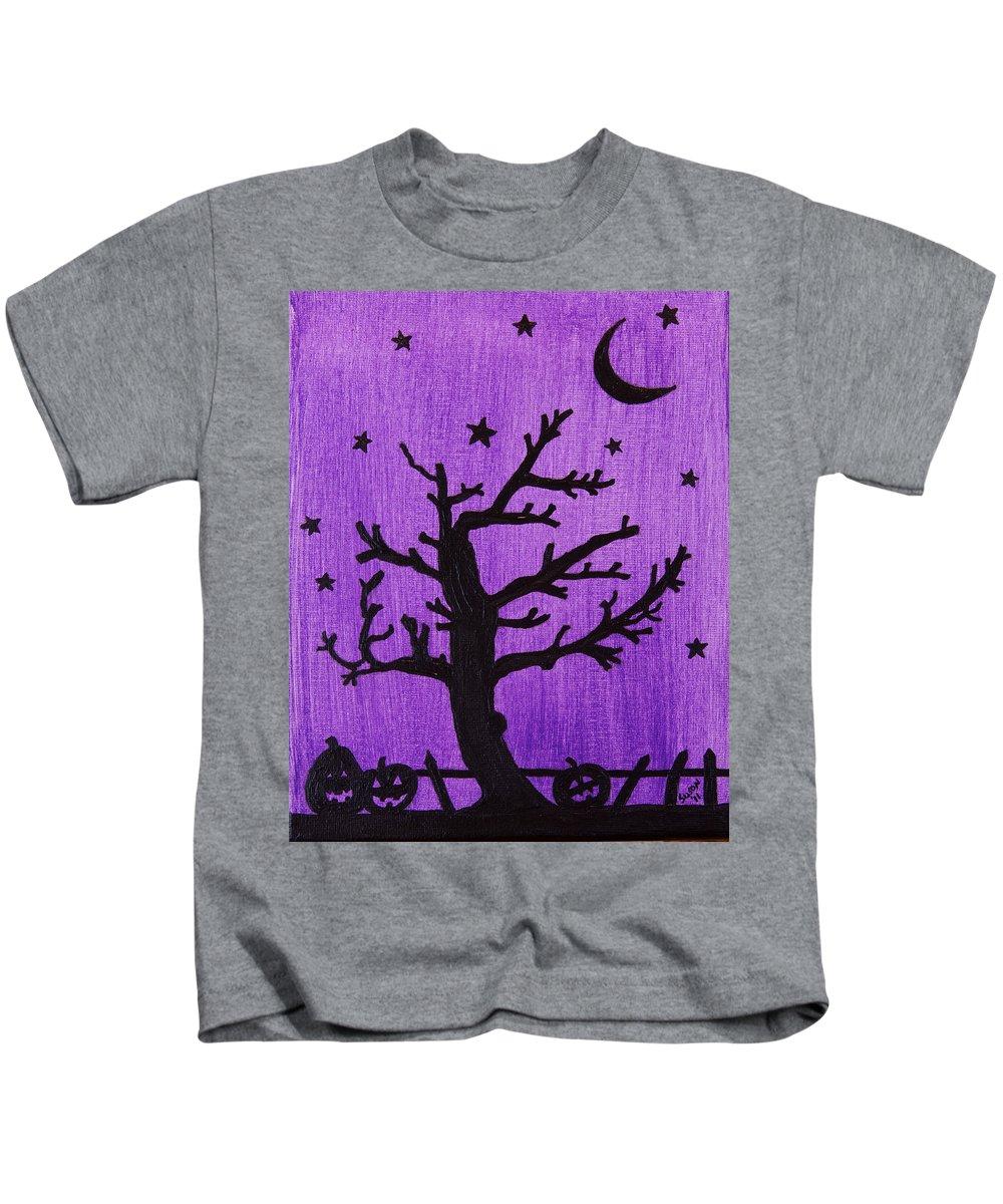 Halloween Kids T-Shirt featuring the painting Halloween Night by Susan Cliett
