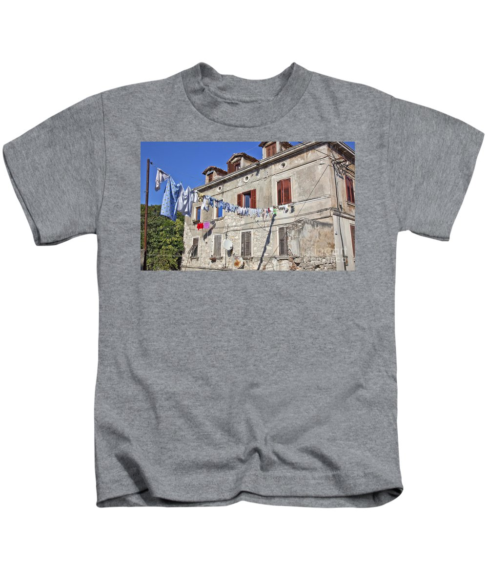 Laundry Kids T-Shirt featuring the photograph Hanging Out To Dry In Rovinj by Madeline Ellis