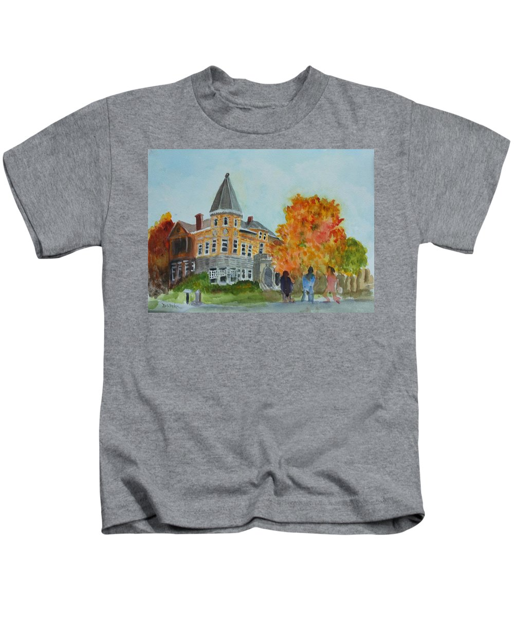 Haskell Free Library Kids T-Shirt featuring the painting Haskell Free Library In Autumn by Donna Walsh