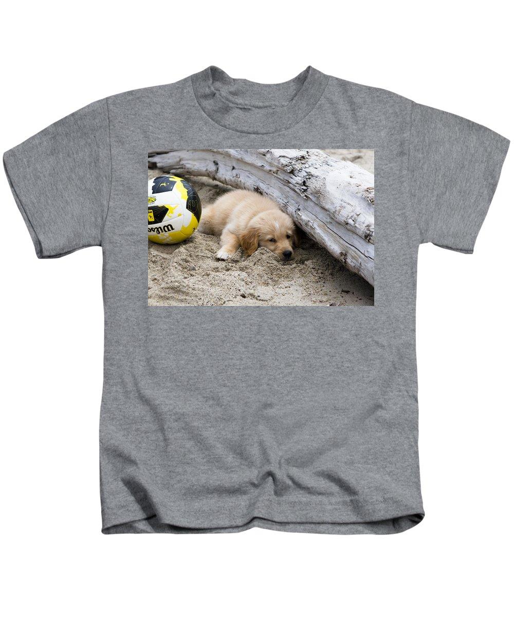 Soccer Kids T-Shirt featuring the photograph He Bent It Like Beckham by Lorraine Devon Wilke