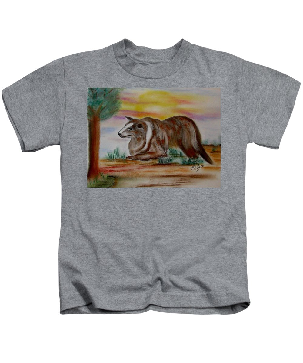 Collie Kids T-Shirt featuring the drawing Herding Collie by Maria Urso