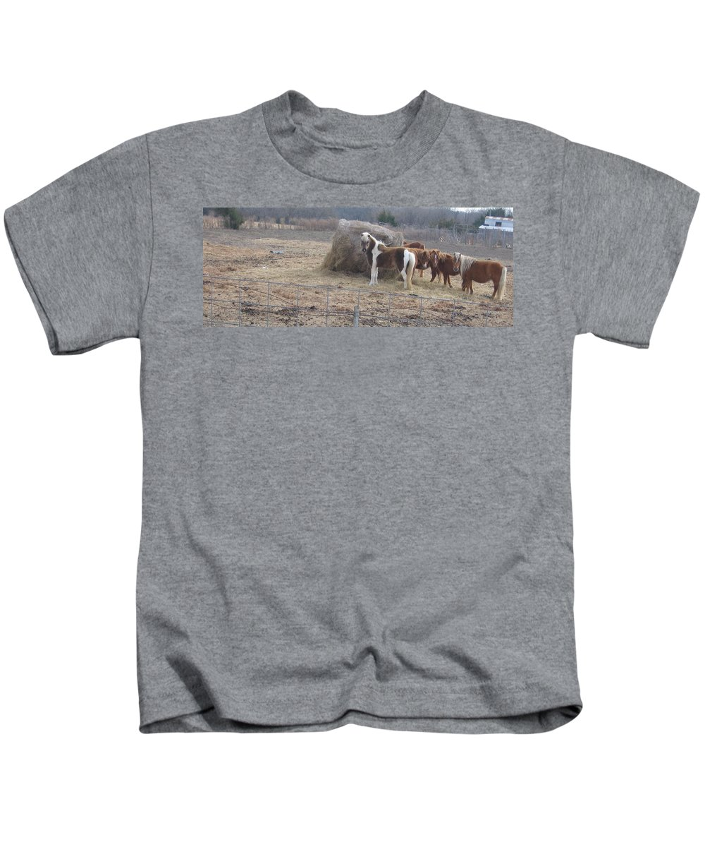 Kids T-Shirt featuring the photograph Horses by Amy Hosp