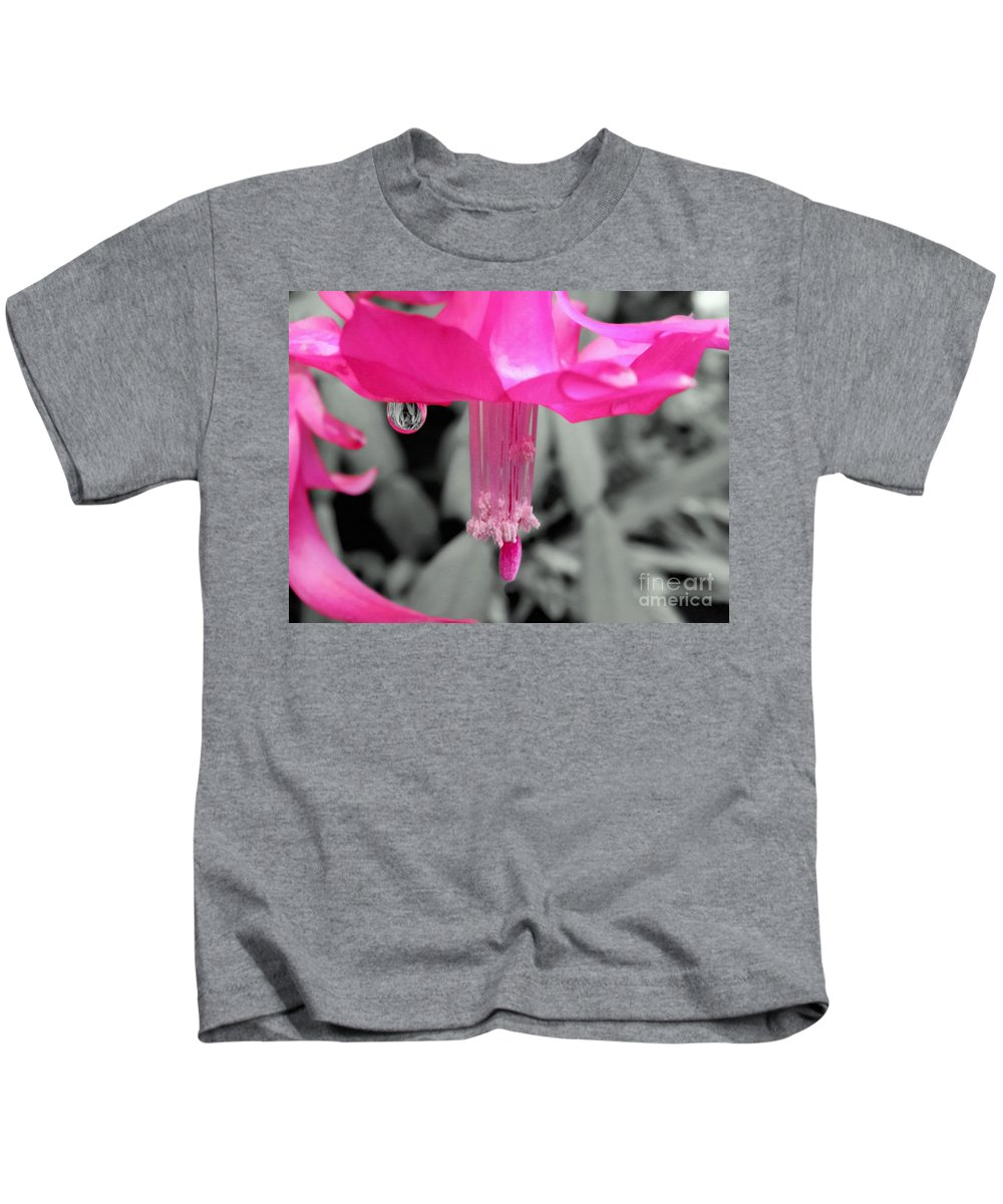 Photography Kids T-Shirt featuring the photograph Hot Pink Cactus by Kaye Menner