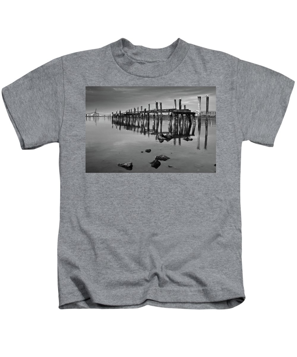 Pylons Kids T-Shirt featuring the photograph Humboldt Bay Ruins by Greg Nyquist