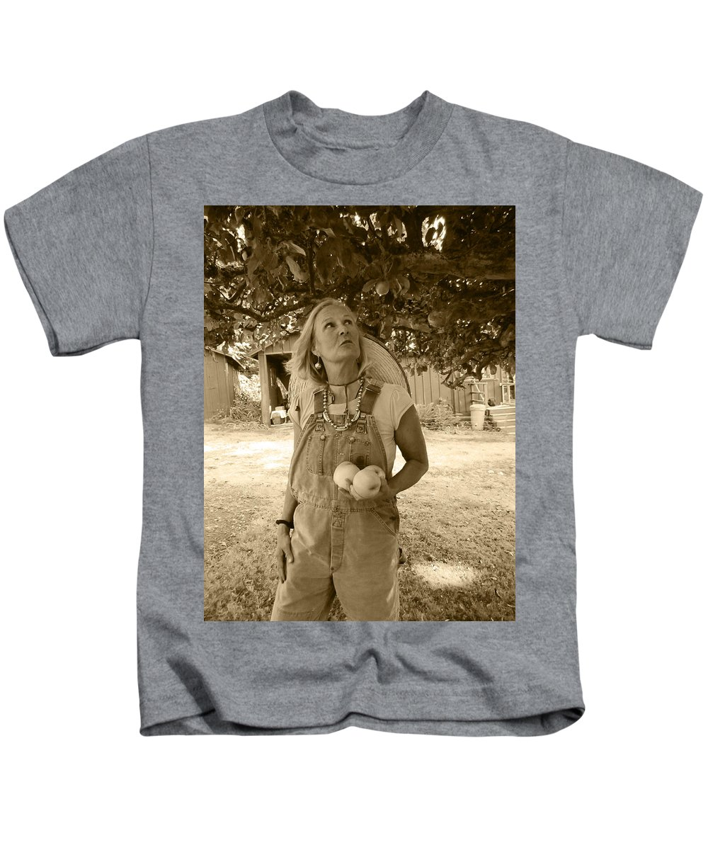 Woman Picking Apples Kids T-Shirt featuring the photograph I Should Pick That Apple by Kym Backland