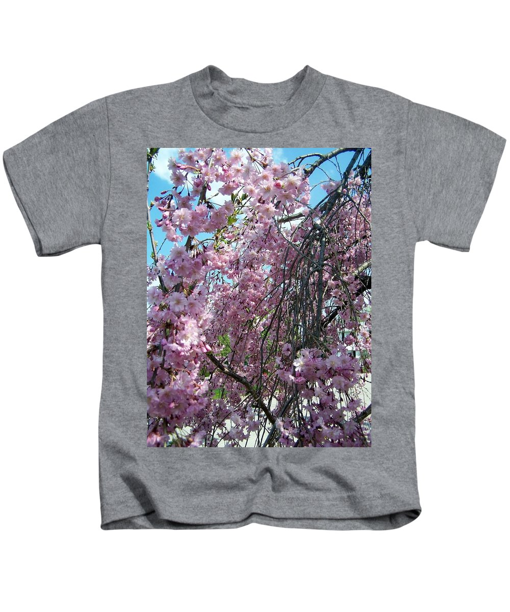 Flowers In Bloom Kids T-Shirt featuring the painting In Bloom by Cynthia Amaral