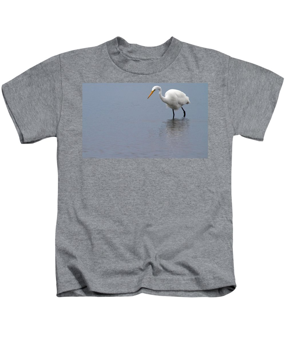 Egret Kids T-Shirt featuring the photograph In Search Of by Karol Livote
