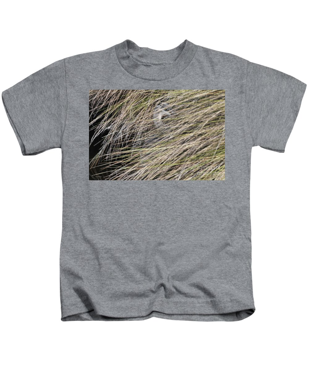 Heron Kids T-Shirt featuring the photograph In The Grass by Deborah Benoit