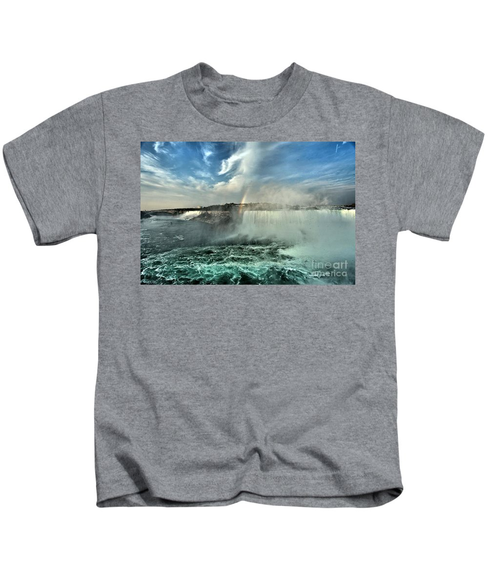 Niagara Falls State Park Kids T-Shirt featuring the photograph In The Middle Of Horseshoe by Adam Jewell
