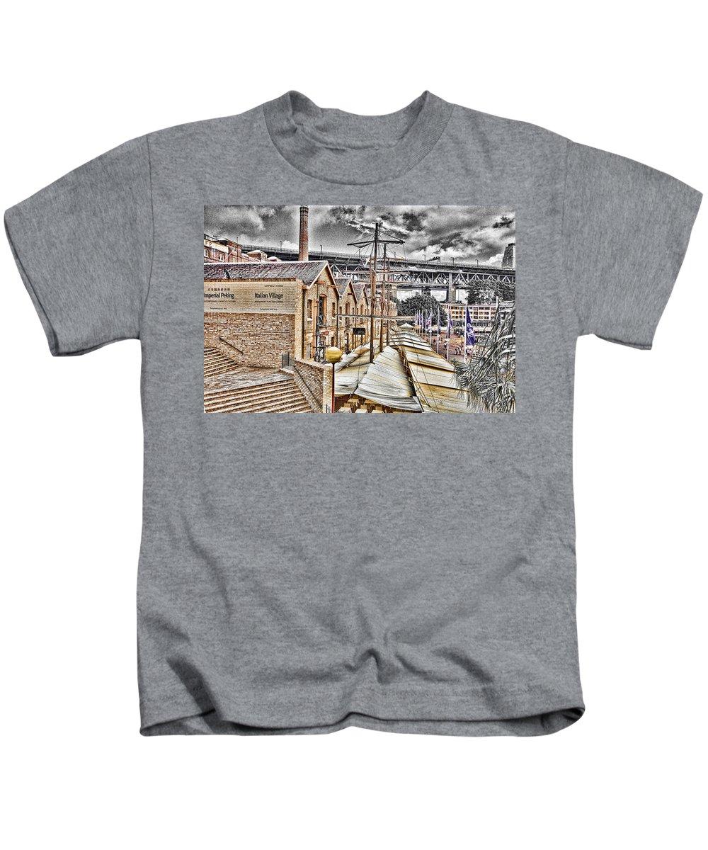 Italian Village Kids T-Shirt featuring the photograph Italian Village-sydney Harbor Bridge by Douglas Barnard