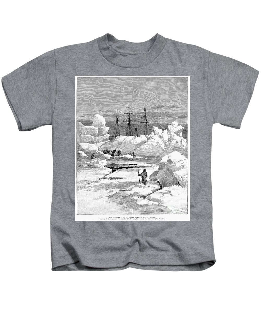 1880 Kids T-Shirt featuring the photograph Jeannette Expedition by Granger