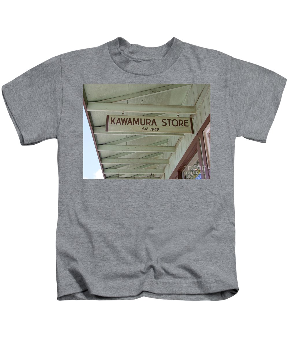 Mary Deal Kids T-Shirt featuring the photograph Kawamura Store Est 1949 by Mary Deal
