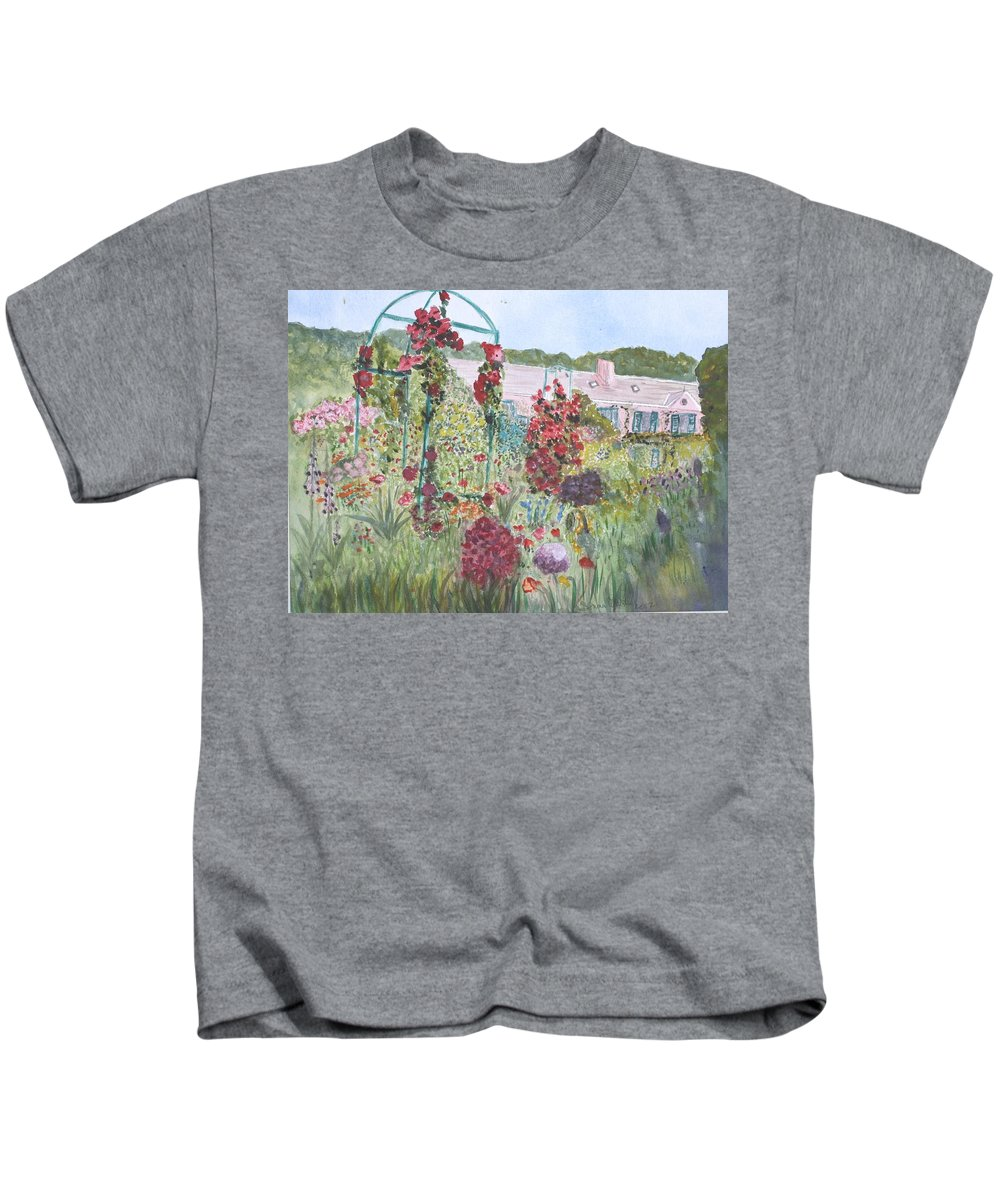 Monet Kids T-Shirt featuring the painting La Maison et Le Jardin de Monet by Donna Walsh