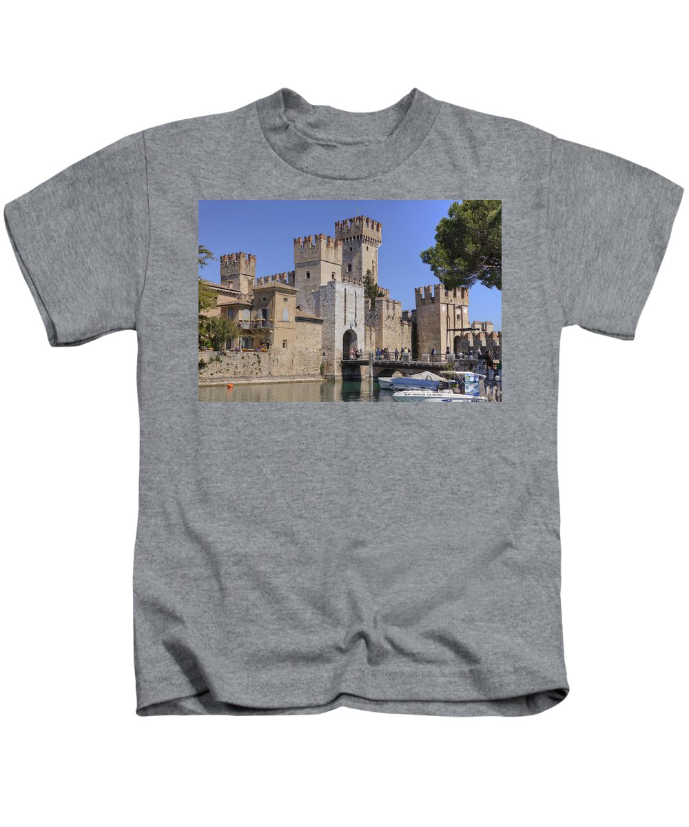 Scaliger Castle Kids T-Shirt featuring the photograph Lake Maggiore Sirmione by Joana Kruse