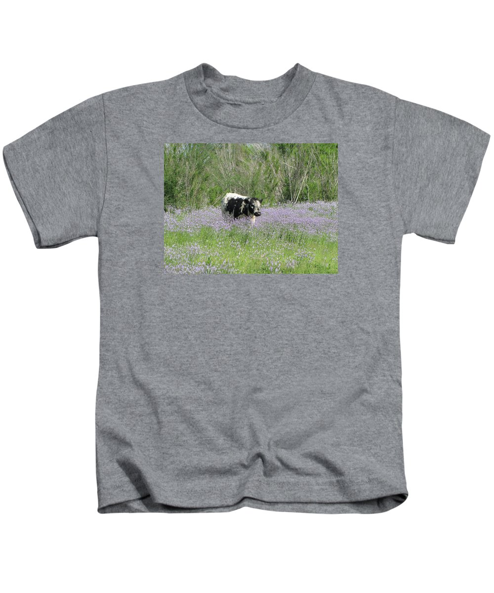 Cow Kids T-Shirt featuring the photograph Lazy Stroll by Sandra Vasko