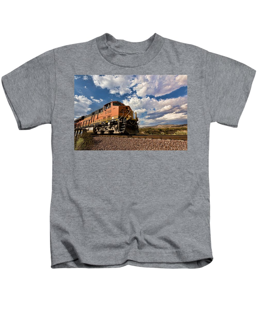 Train Kids T-Shirt featuring the photograph Loccomotive To The Sky by Peter Tellone
