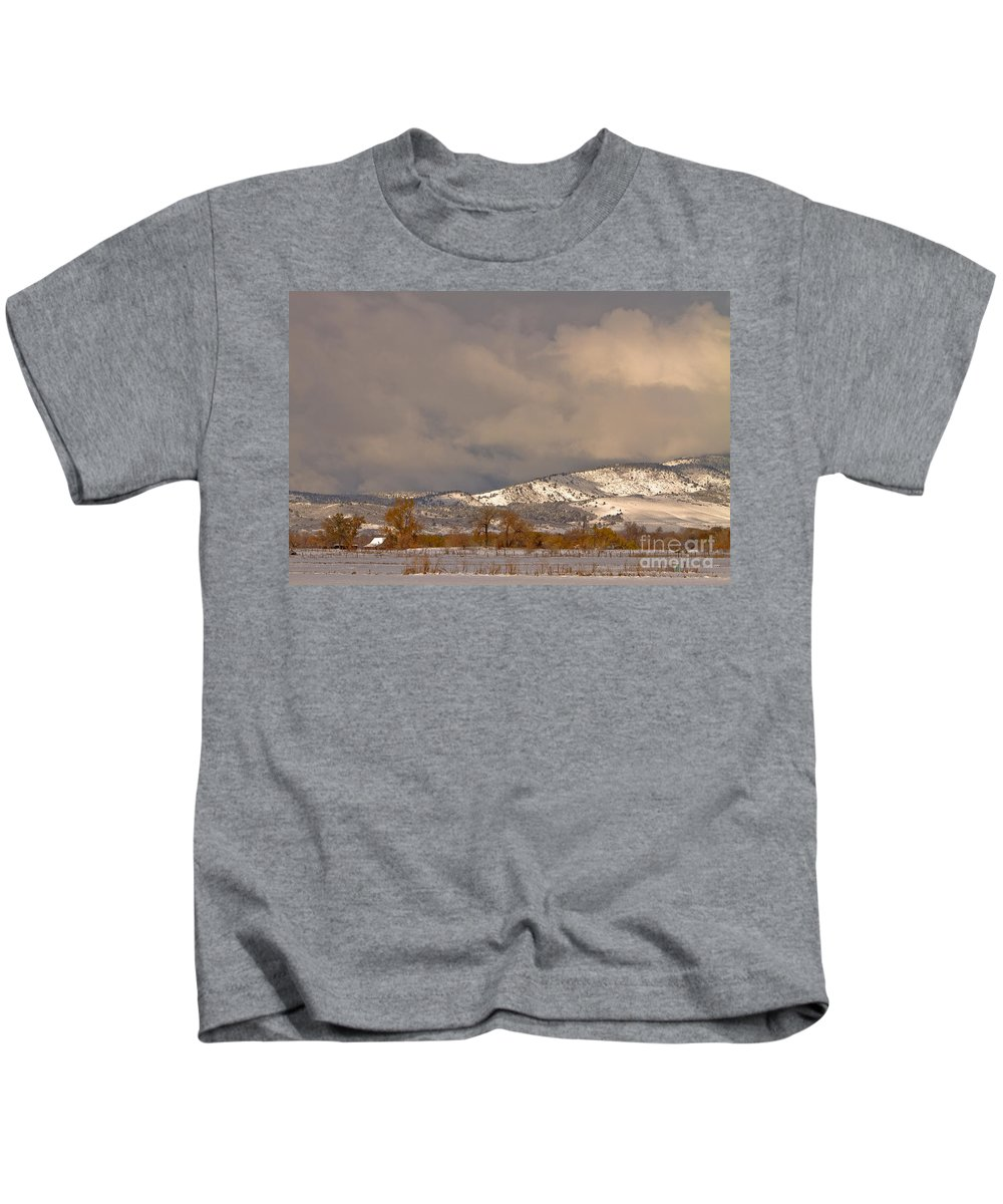 'low Clouds' Kids T-Shirt featuring the photograph Low Winter Storm Clouds Colorado Rocky Mountain Foothills 2 by James BO Insogna