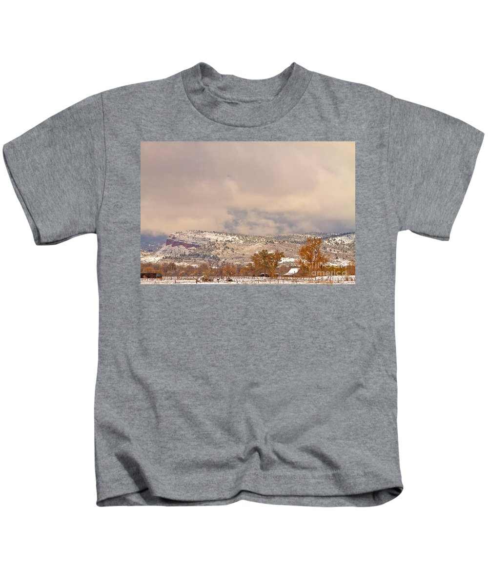 'low Clouds' Kids T-Shirt featuring the photograph Low Winter Storm Clouds Colorado Rocky Mountain Foothills 7 by James BO Insogna