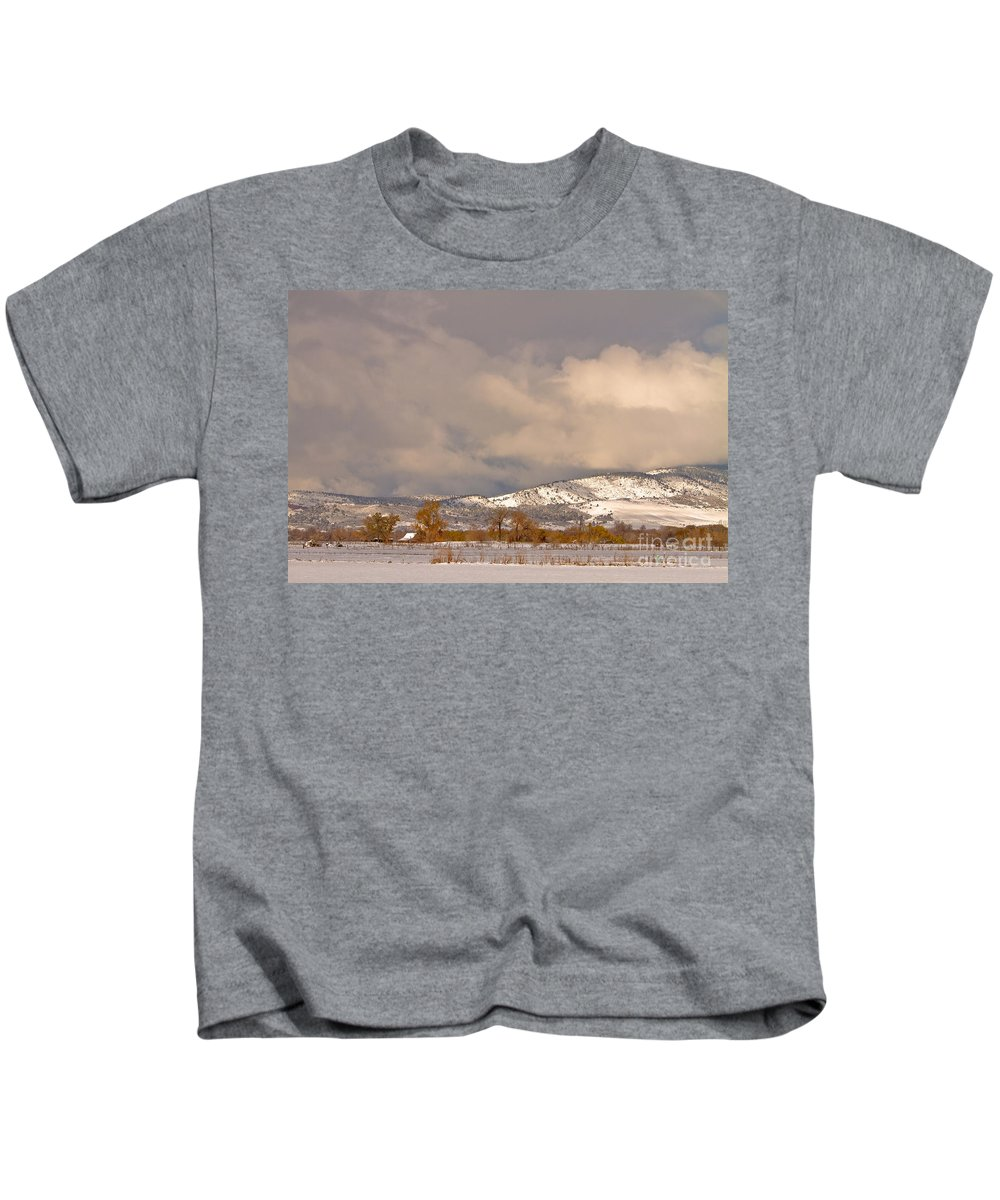 'low Clouds' Kids T-Shirt featuring the photograph Low Winter Storm Clouds Colorado Rocky Mountain Foothills by James BO Insogna