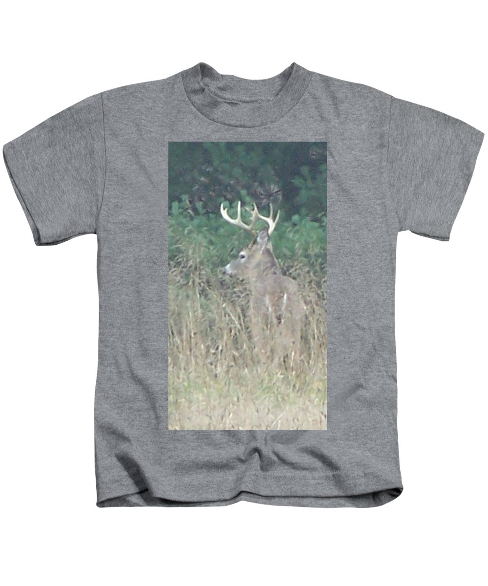 Buck Kids T-Shirt featuring the photograph Majestic Buck by Kathy Laughlin