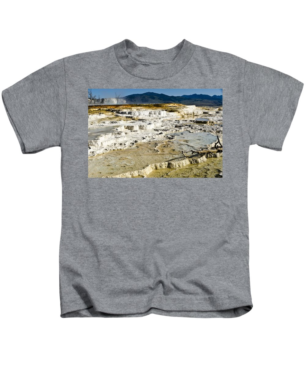Yellowstone National Park Kids T-Shirt featuring the photograph Mammoth Hot Springs Terraces by Jon Berghoff