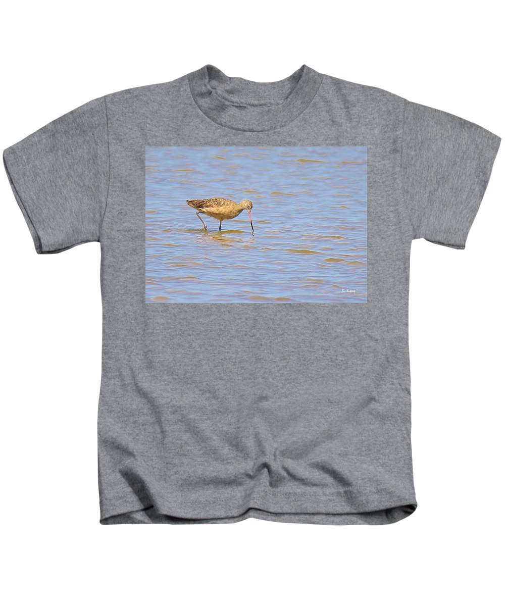 Roena King Kids T-Shirt featuring the photograph Marbled Godwit Searching For Food by Roena King