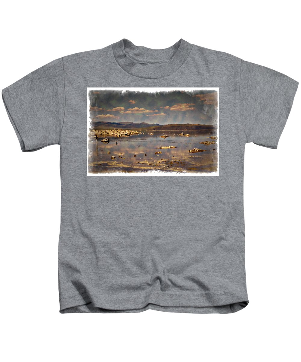 Mono Kids T-Shirt featuring the photograph Mono Lake - Impressions by Ricky Barnard