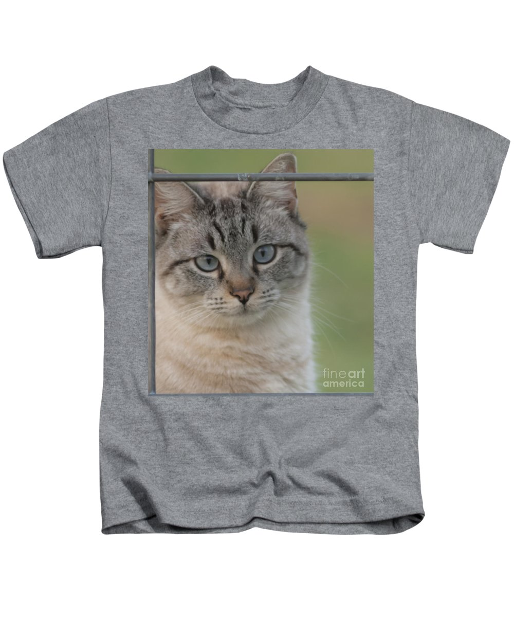 Cat Kids T-Shirt featuring the mixed media Moo I'm A Cow by Kim Henderson