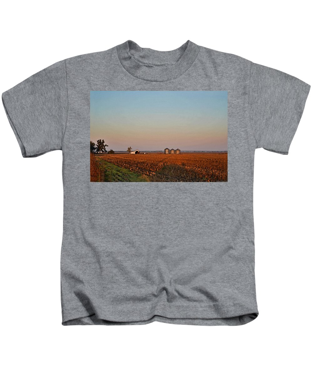 Scenery Kids T-Shirt featuring the photograph Morning In The Heartland Watercolor Photoart I by Debbie Portwood