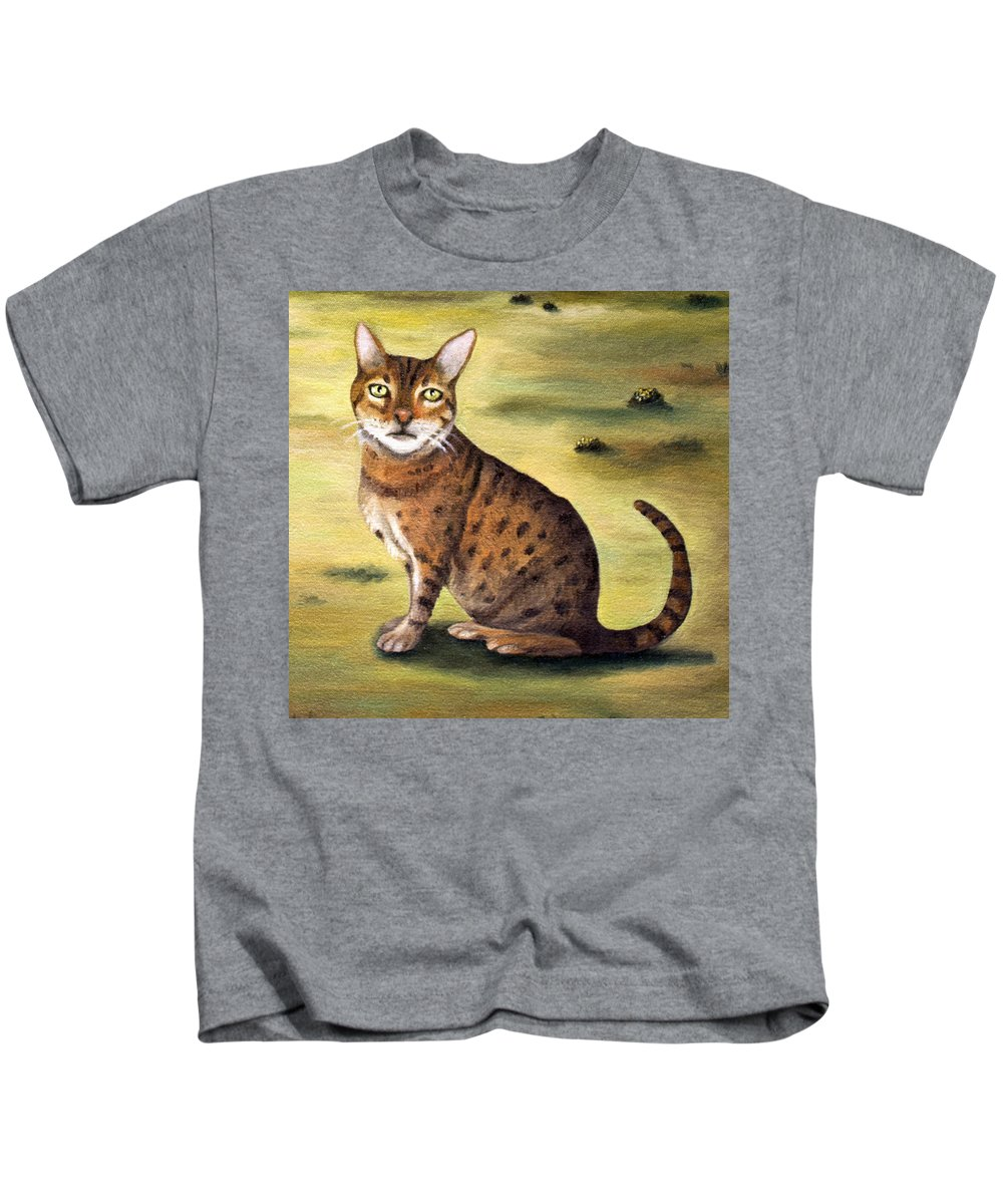 Cat Kids T-Shirt featuring the painting My Cats Worst Nightmare Detail by Leah Saulnier The Painting Maniac