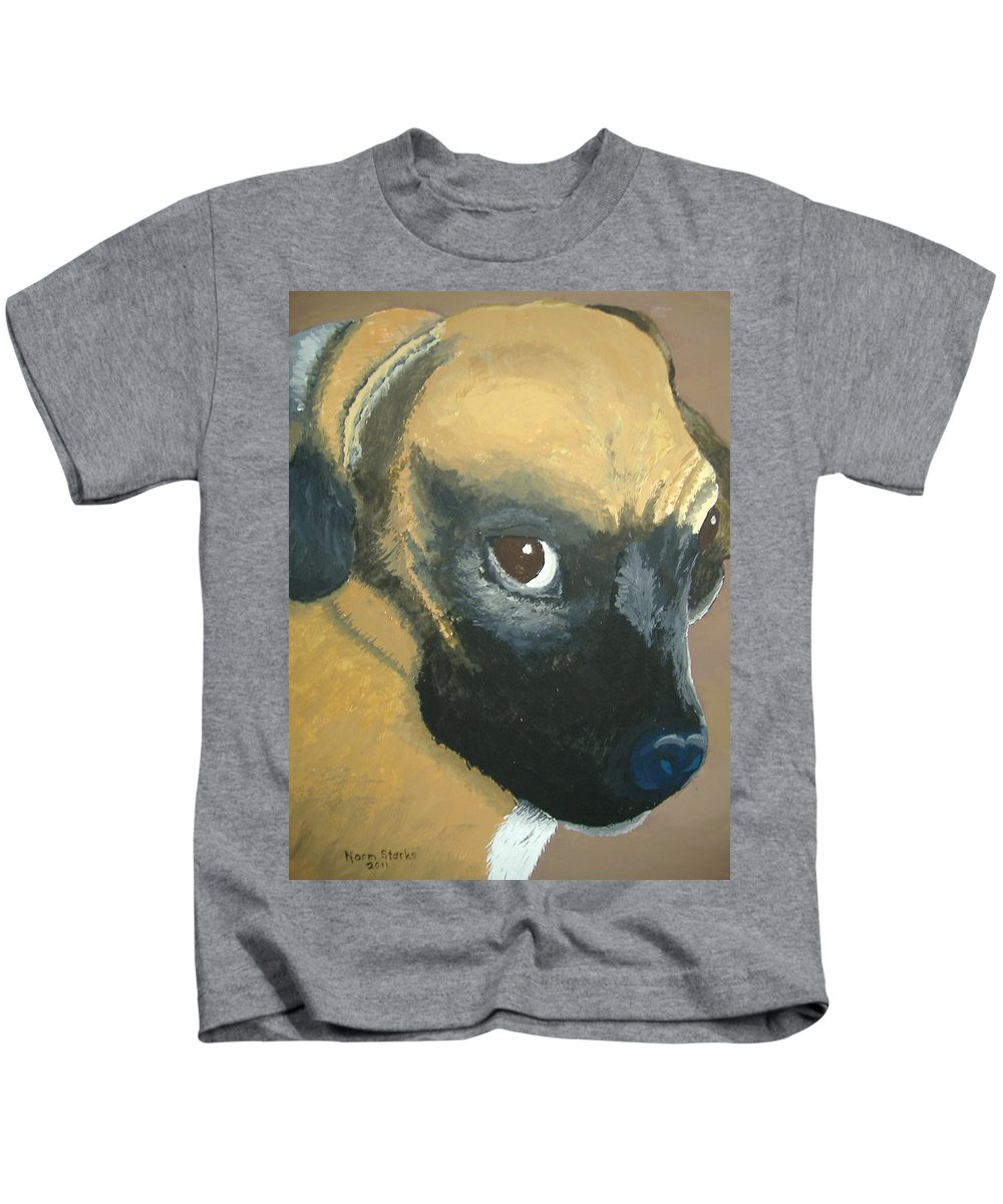 Dog Kids T-Shirt featuring the painting My Name Is Attitude by Norm Starks