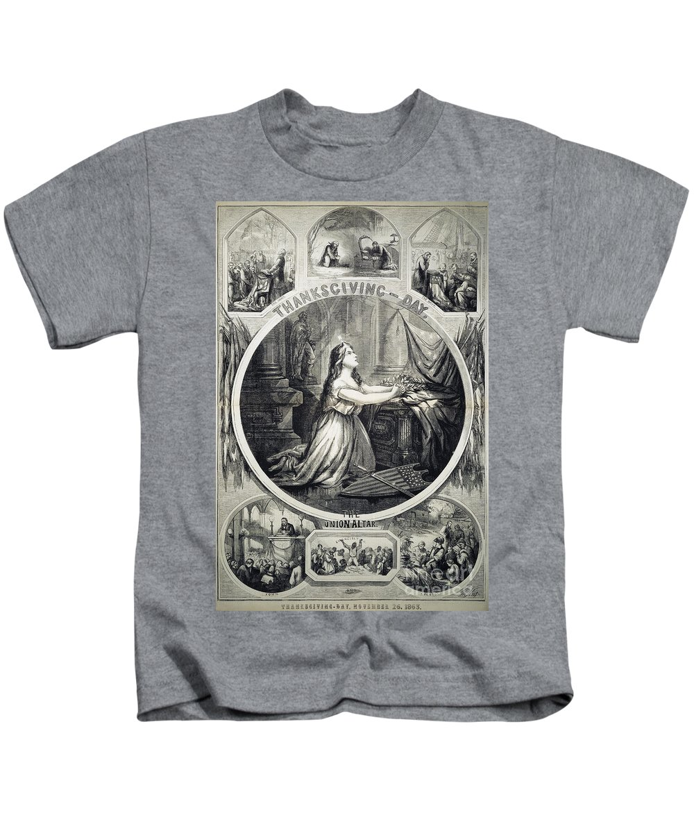 1863 Kids T-Shirt featuring the photograph National Thanksgiving by Granger