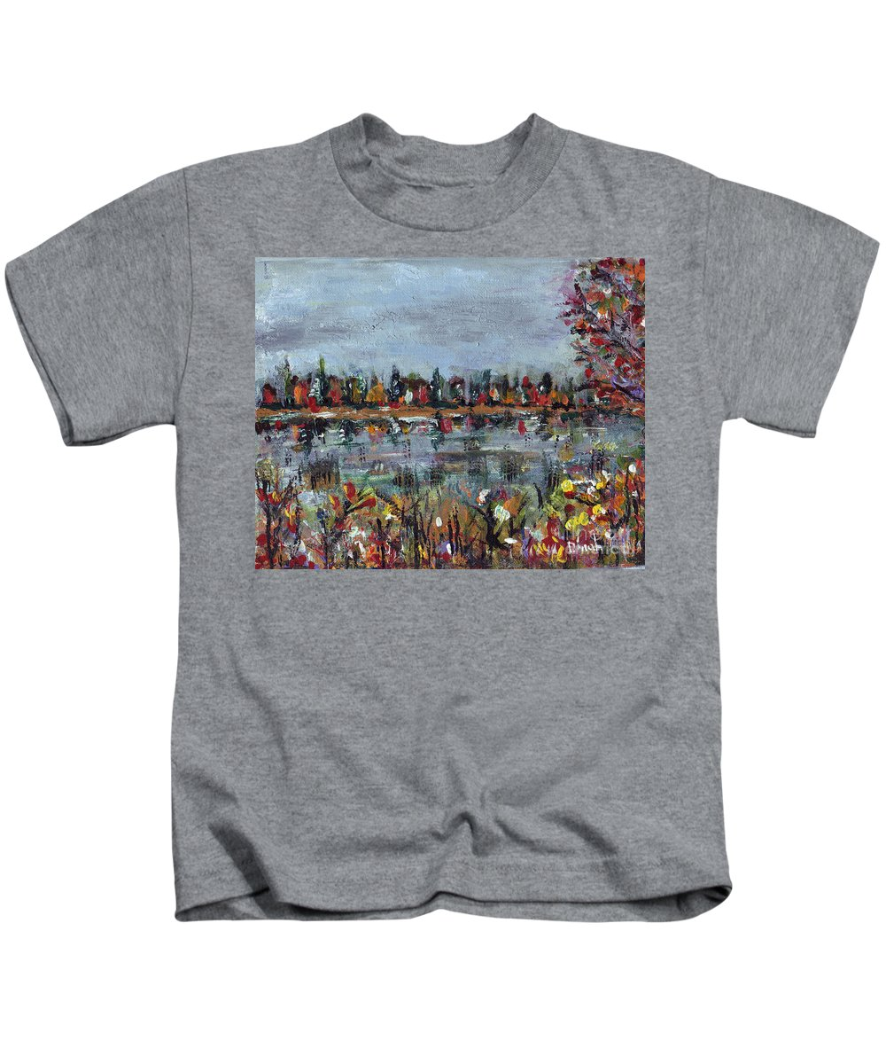 Fall Kids T-Shirt featuring the painting New Hampshire In The Fall by Dinah Anaya