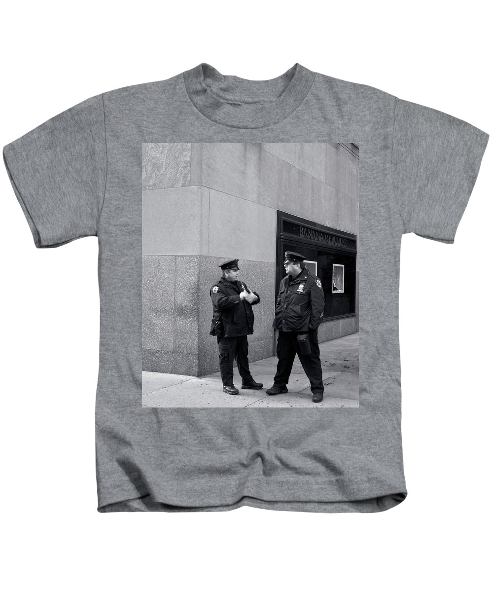 New York City Kids T-Shirt featuring the photograph Ny Beat Cops Holding The Banana Republic by Lorraine Devon Wilke