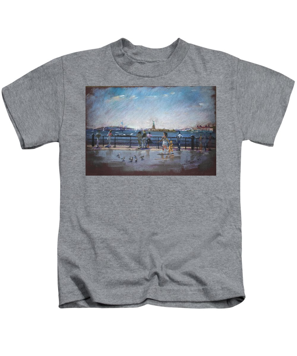 Ny City Kids T-Shirt featuring the pastel Nyc Grand Ferry Park 2 by Ylli Haruni