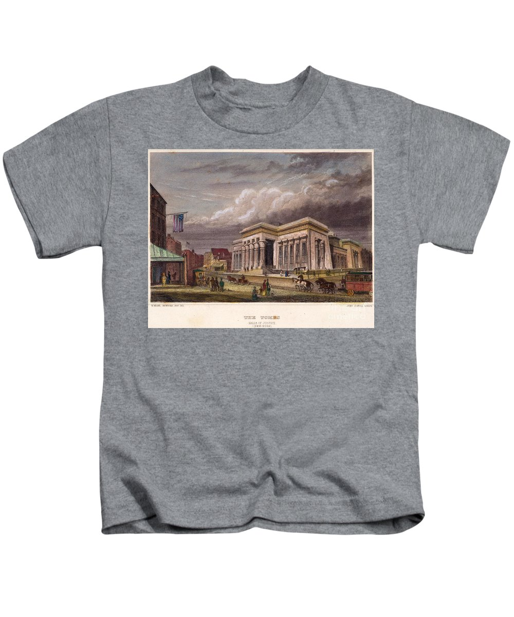 1850 Kids T-Shirt featuring the photograph Nyc: The Tombs, 1850 by Granger