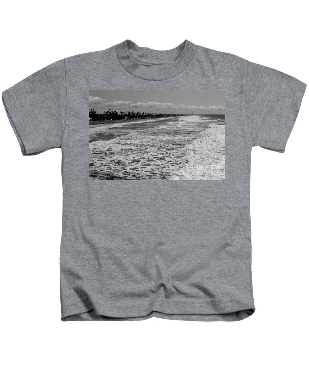 Oceanside Kids T-Shirt featuring the photograph Oceanside In Black And White by Daniel Knighton