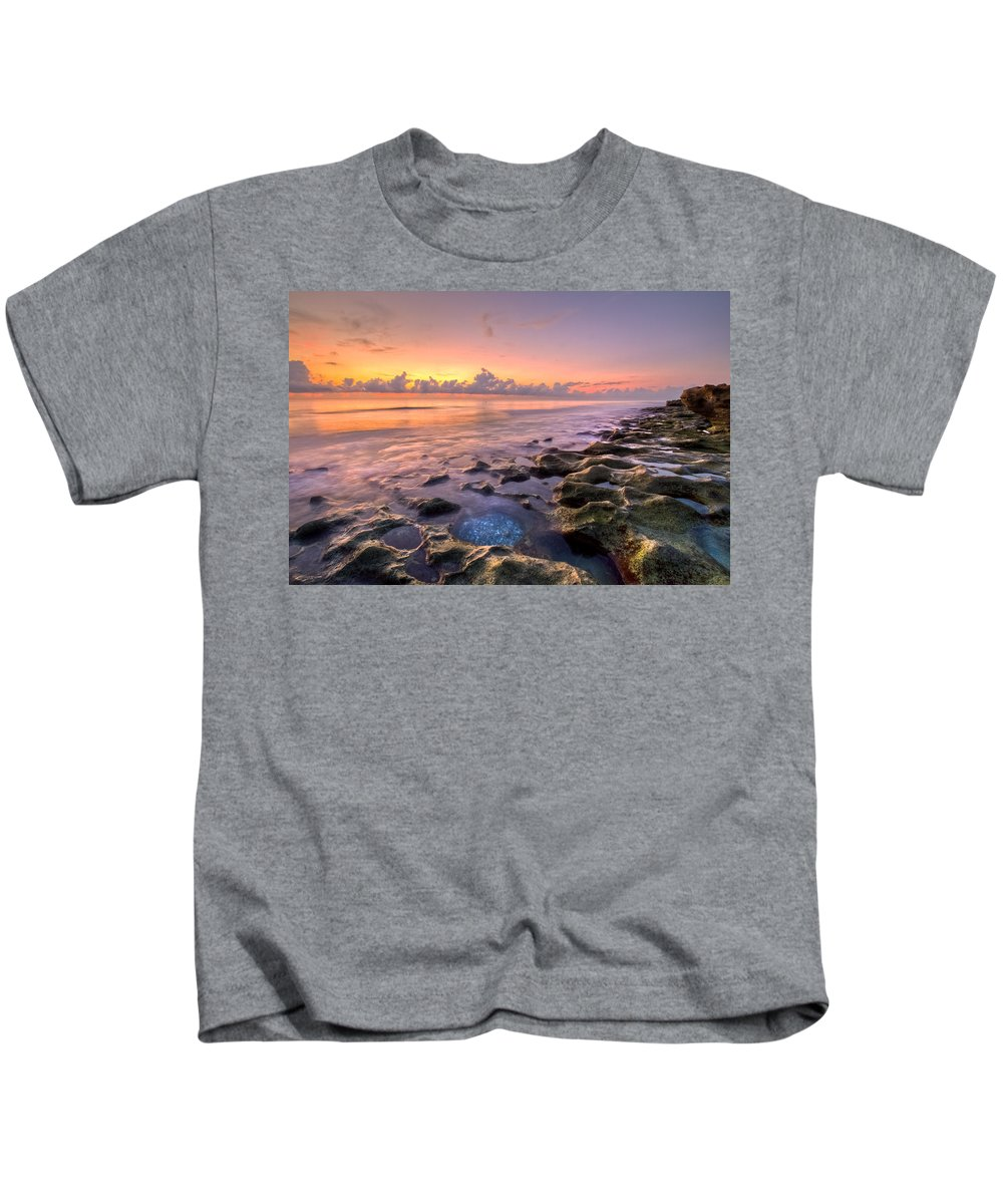 Blowing Rocks Kids T-Shirt featuring the photograph On The Rocks by Debra and Dave Vanderlaan