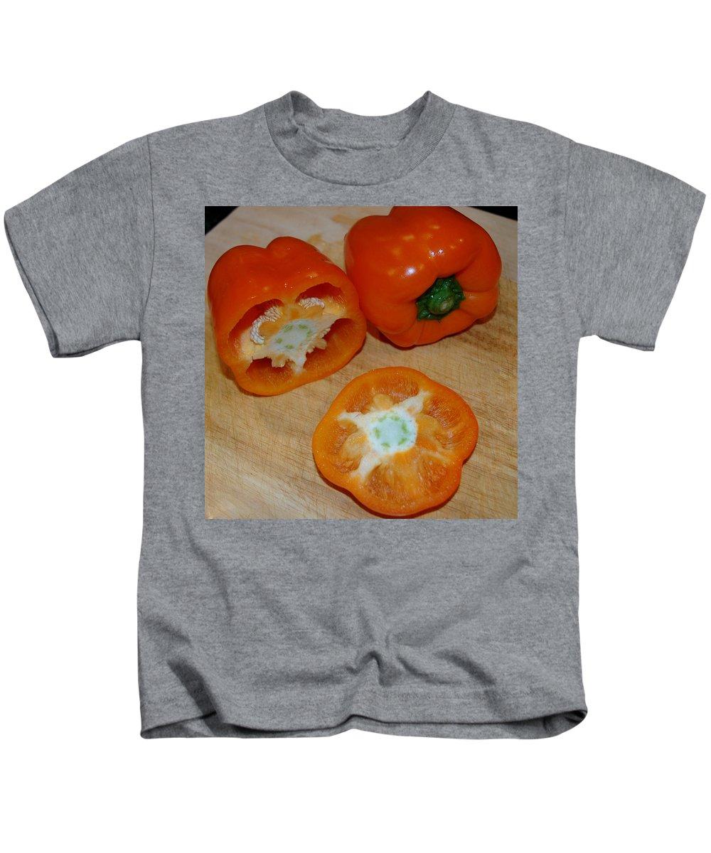 Usa Kids T-Shirt featuring the photograph Orange Peppers by LeeAnn McLaneGoetz McLaneGoetzStudioLLCcom