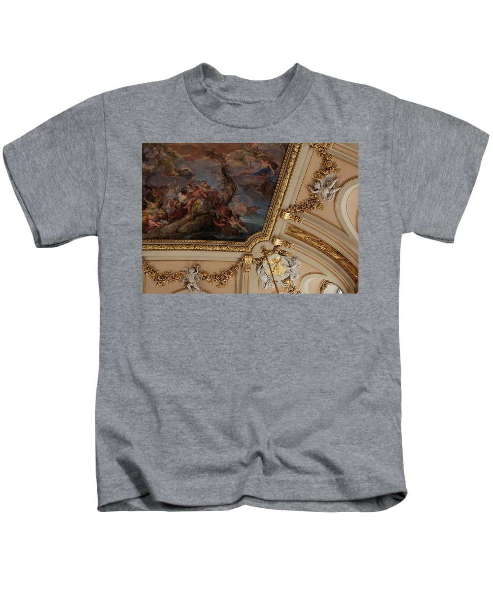 Madrid Kids T-Shirt featuring the photograph Palace Ceiling Detail by Lorraine Devon Wilke