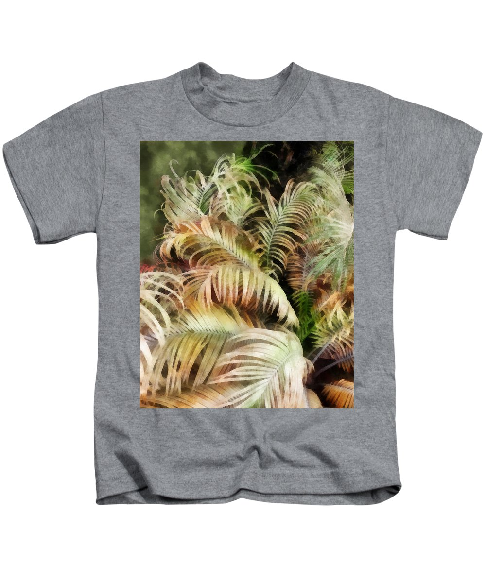 Palm; Tree; Bush; Tropic; Tropical; Plant; Frond; Leaf; Leaves Kids T-Shirt featuring the digital art Palm Bank by Francesa Miller