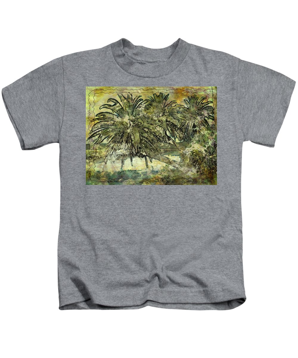 Palm Haiku Abstract Waterway Flagler Florida Intracoastal Kids T-Shirt featuring the photograph Palms Haiku by Alice Gipson