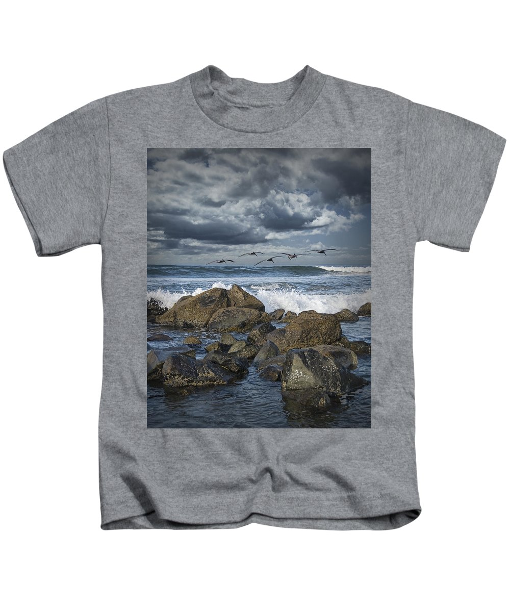 Art Kids T-Shirt featuring the photograph Pelicans Over The Surf On Coronado by Randall Nyhof