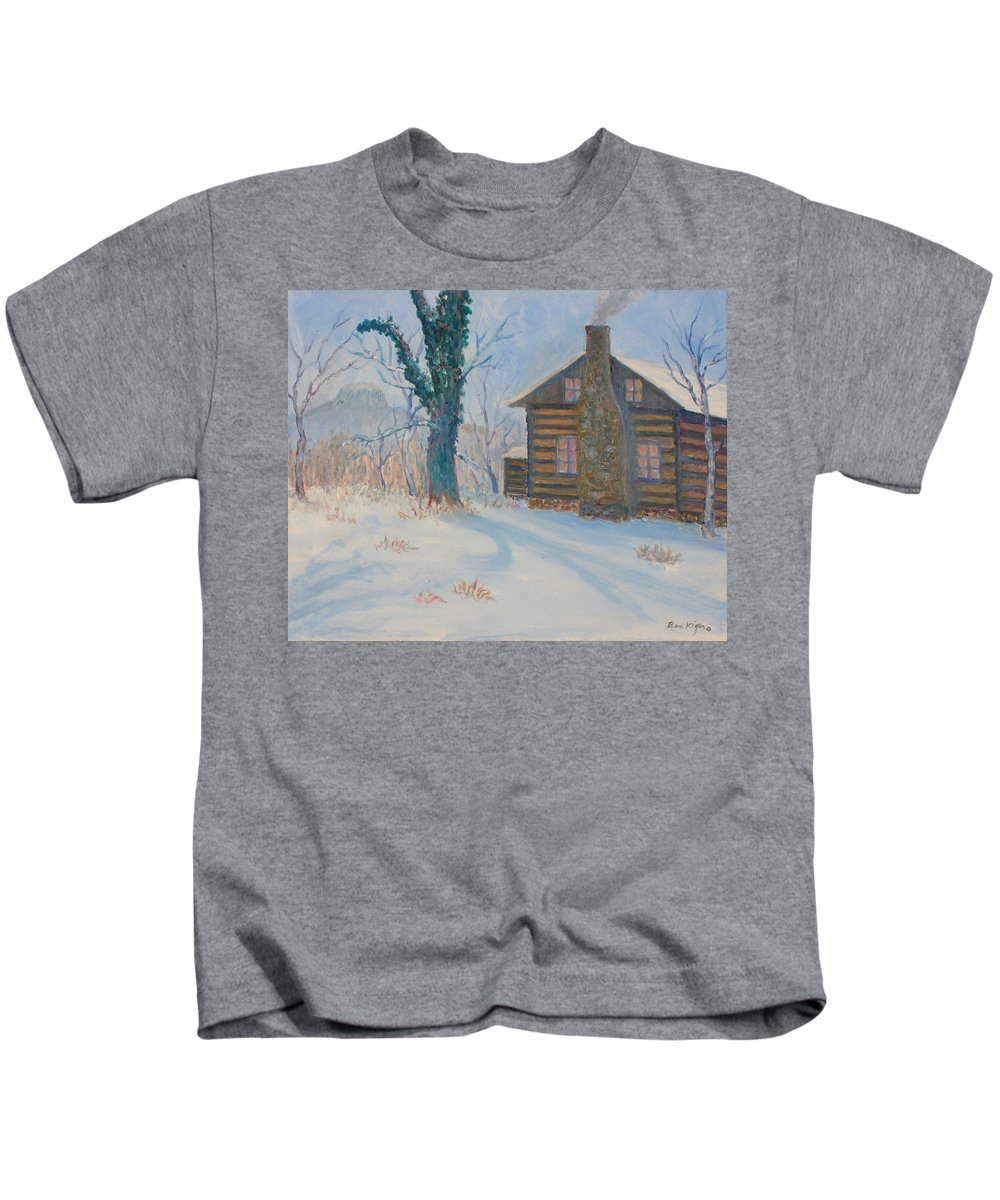 Pilot Mountain Kids T-Shirt featuring the painting Pilot Mountain Lodge by Ben Kiger