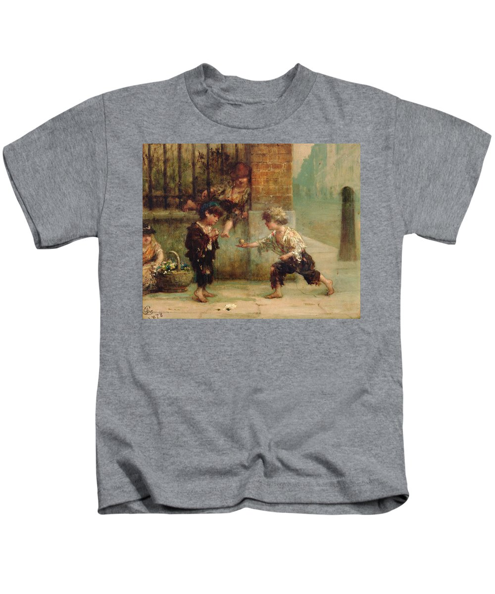 Kids T-Shirt featuring the painting Playing With A Top by Albert Snr Ludovici