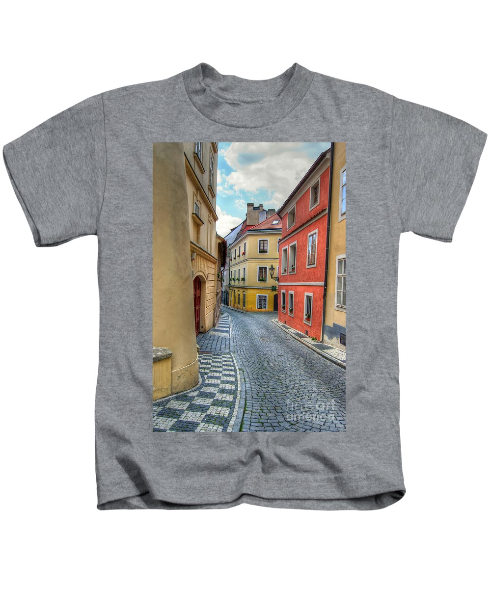 Alley Kids T-Shirt featuring the photograph Prague Alleyway by Michal Boubin