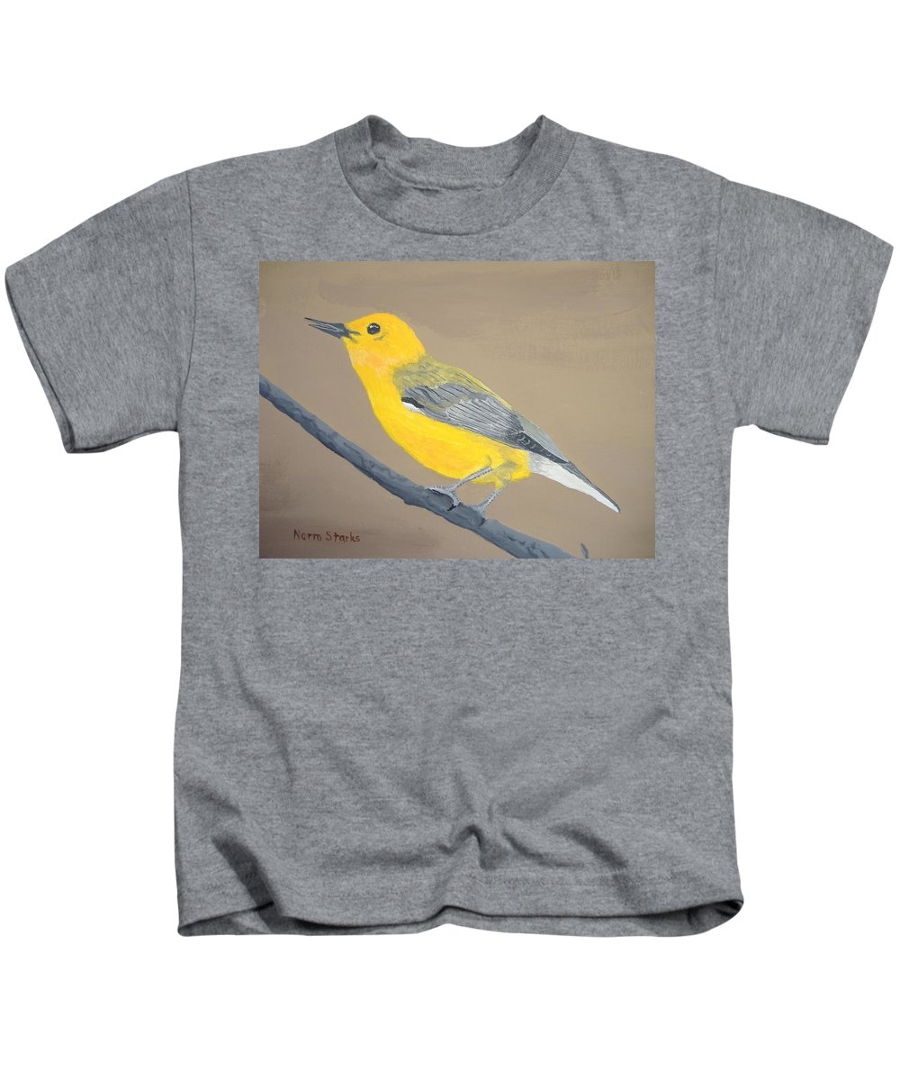 Songbird Kids T-Shirt featuring the painting Prothonotary Warbler by Norm Starks