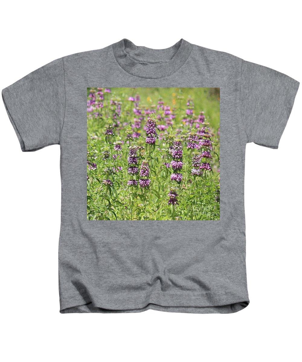 Purple Flowers Kids T-Shirt featuring the photograph Purple Flower Field by Carol Groenen