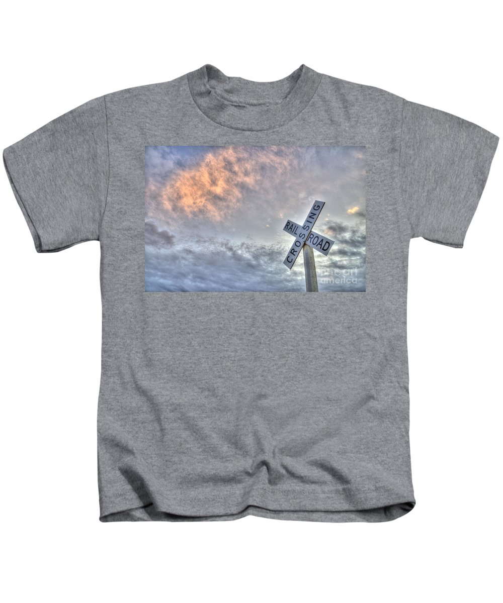Train Kids T-Shirt featuring the photograph Railroad Crossing Sign by Jim And Emily Bush
